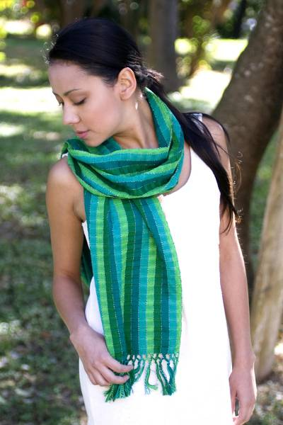 Cotton scarf, 'Jade Fields' - Green Cotton Scarf Woven By Hand