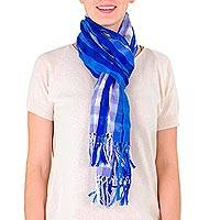 Cotton scarf, 'Guatemala Sky' - Cotton scarf