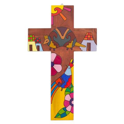 Fair Trade Folk Art Style Painted Pinewood Wall Cross