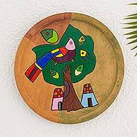 Pinewood wall art, 'Purple Quetzal' - Unique Hand Painted Wood Plate Bird Wall Art