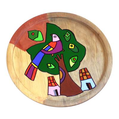 Unique Hand Painted Wood Plate Bird Wall Art