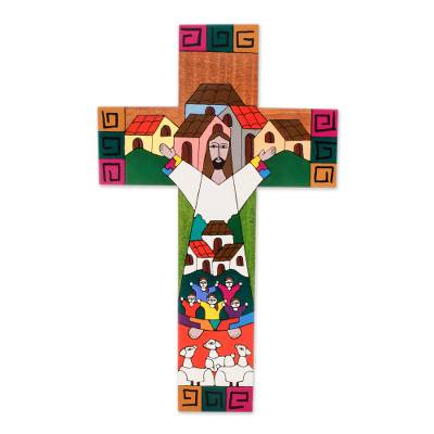 Pinewood cross, 'Community of Love' - Handmade Guatemalan Religious Wood Cross