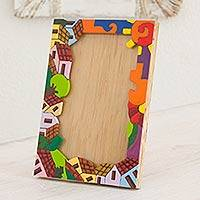 Pinewood photo frame, 'Happy Home' (4x6) - Pinewood photo frame (4x6)