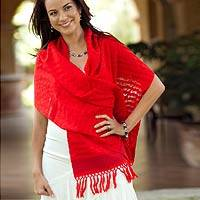 Cotton scarf, 'Atitlan Poinsettias' - Cotton scarf