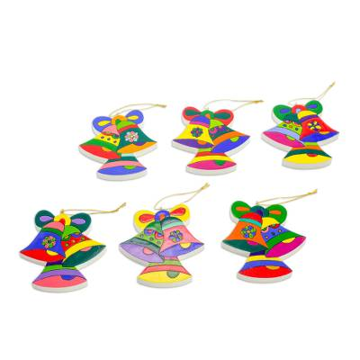 Pinewood ornaments, 'Christmas Bells' (set of 6) - Pinewood ornaments (Set of 6)