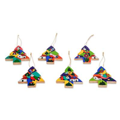 Pinewood ornaments, 'Christmas Trees' (set of 6) - Pinewood ornaments (Set of 6)