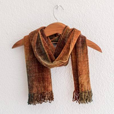 Rayon chenille scarf, 'Autumn Breeze' - Artisan Crafted Bamboo Chenille Scarf from Central America