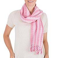 Cotton scarf, 'Tzutujil Rose'