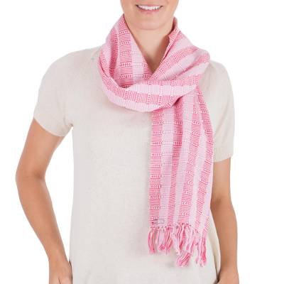 Cotton scarf, 'Tzutujil Rose' - Unique Hand Woven Cotton Scarf