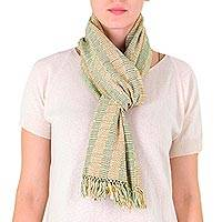 Cotton scarf, 'Tzutujil Valley' - 100% Cotton Hand Woven Scarf