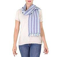 Cotton scarf, 'Blue Atitlan' - Fair Trade Cotton Scarf from Guatemala