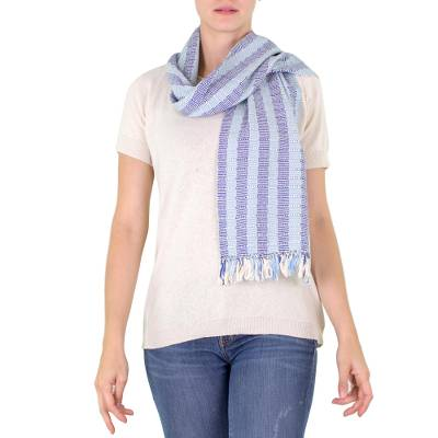 Cotton scarf, 'Blue Atitlan' - Artisan Crafted Cotton Scarf from Guatemala