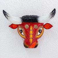 Pinewood mask, 'Little Red Bull' - Hand Carved Guatemalan Folk Art Wood Mask