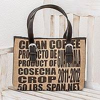 Jute and leather  shoulder bag, 'Clean Coffee' - Recycled Coffee Bag Purse from Guatemala
