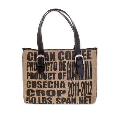 Novica Jute and leather shoulder bag, Clean Coffee - Recycled Jute and Leather Shoulder Bag from Guatemala