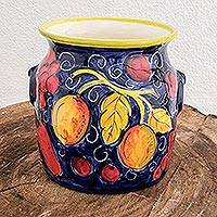 Ceramic flower pot, 'Tropical Bounty' - Ceramic flower pot