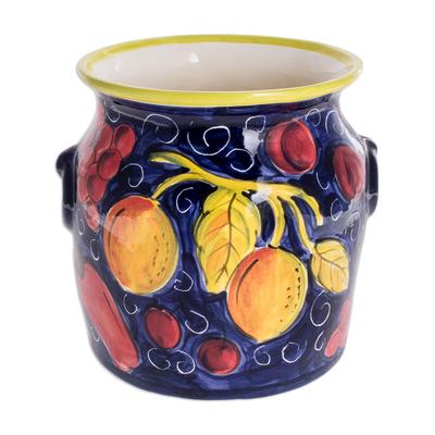 Ceramic flower pot, 'Tropical Bounty' - Ceramic flower pot