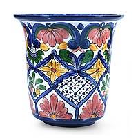 Ceramic flower pot, 'Glorious Spring'