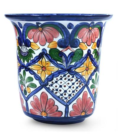 Ceramic flower pot, 'Glorious Spring' - Ceramic flower pot