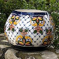 Ceramic flower pot, 'Starlight Bouquet' - Ceramic flower pot