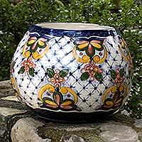 Ceramic flower pot, 'Starlight Bouquet'