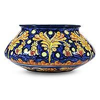 Ceramic flower pot, 'Golden Splendor'