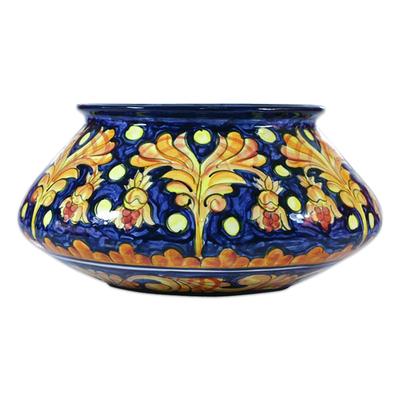 Ceramic flower pot, 'Golden Splendor' - Ceramic flower pot