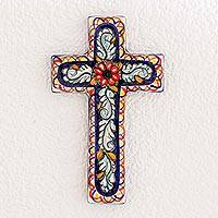 Ceramic cross, 'Floral Blessing' - Ceramic cross