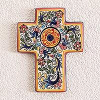 Ceramic cross, 'Rebirth' - Hand Crafted Ceramic Cross