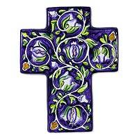 Ceramic cross, 'Water Hyacinths' - Ceramic cross