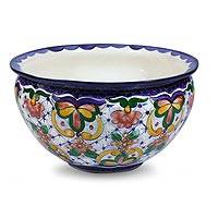 Ceramic flower pot, 'Starlight Flowers' - Ceramic flower pot
