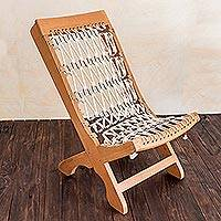 Cedar and cotton chair, 'Urban Hacienda' - Cedar and cotton chair