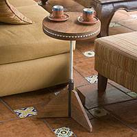 Wood rotating accent table, 'New Cycles' - Wood rotating accent table