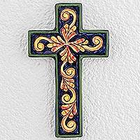 Ceramic cross, 'Color Harmony' - Fair Trade Ceramic Cross from El Salvador