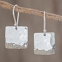 Sterling silver dangle earrings, 'Panajachel Moon' - Unique Hammered .925 Silver Square Dangle Earrings
