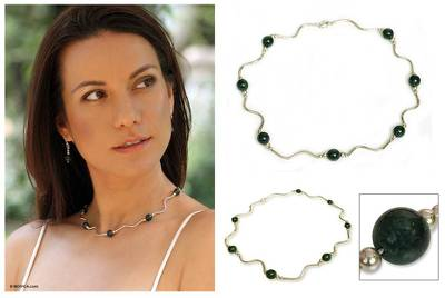 Jade beaded necklace, 'Usumacinta' - Hand Crafted Sterling Silver Beaded Jade Necklace