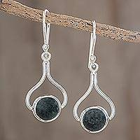 Jade dangle earrings, 'Modern Mixco' - Hand Crafted Sterling Silver Dangle Jade Earrings