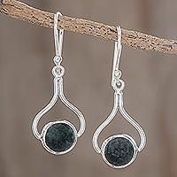 Jade dangle earrings, 'Modern Mixco' - Hand Crafted Sterling Silver Dangle Jade Earrings