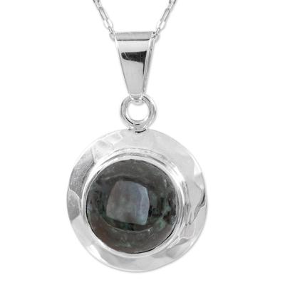 Jade pendant necklace, 'Saturn' - Handcrafted Sterling Silver Pendant Jade Necklace