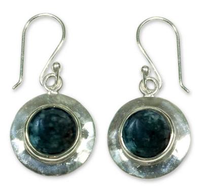 Jade dangle earrings, 'Saturn' - Sterling Silver Dangle Jade Earrings