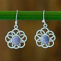 Jade flower earrings, 'Maya Lilac' - Floral Sterling Silver Jade Dangle Earrings