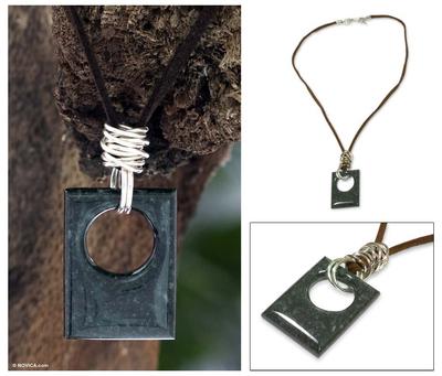Jade pendant necklace, 'Green Jaguar' - Guatemalan Silver and Jade Necklace