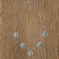 Jade Y necklace, 'Path of Life' - Fair Trade Women's Sterling Silver Pendant Jade Necklace