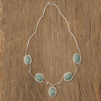 Jade Y necklace, 'Path of Life' - Fair Trade Women's Sterling Silver Pendant Jade Necklace