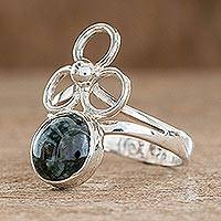 Jade cocktail ring, 'Trinity of Faith' - Modern Guatemalan Sterling Silver Jade Ring