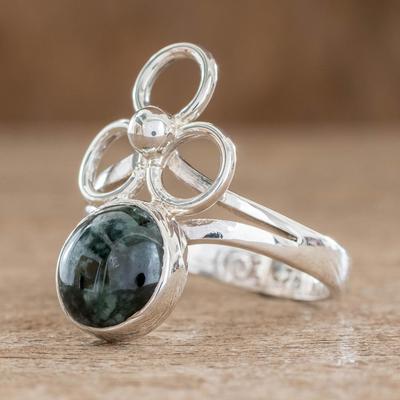 Jade cocktail ring, 'Trinity of Faith' - Modern Guatemalan Sterling Silver Jade Ring