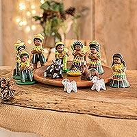 Ceramic nativity scene, 'San Juan Nativity' (set of 13)