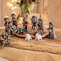 Ceramic nativity scene, 'Totonicapan' (set of 13)
