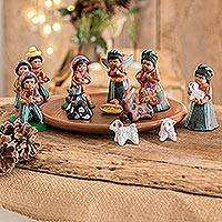 Ceramic nativity scene, 'Saint Thomas' (set of 13)