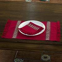 Cotton placemats and napkins, 'Scarlet Hills' (set for 4) - Cotton placemats and napkins (Set for 4)